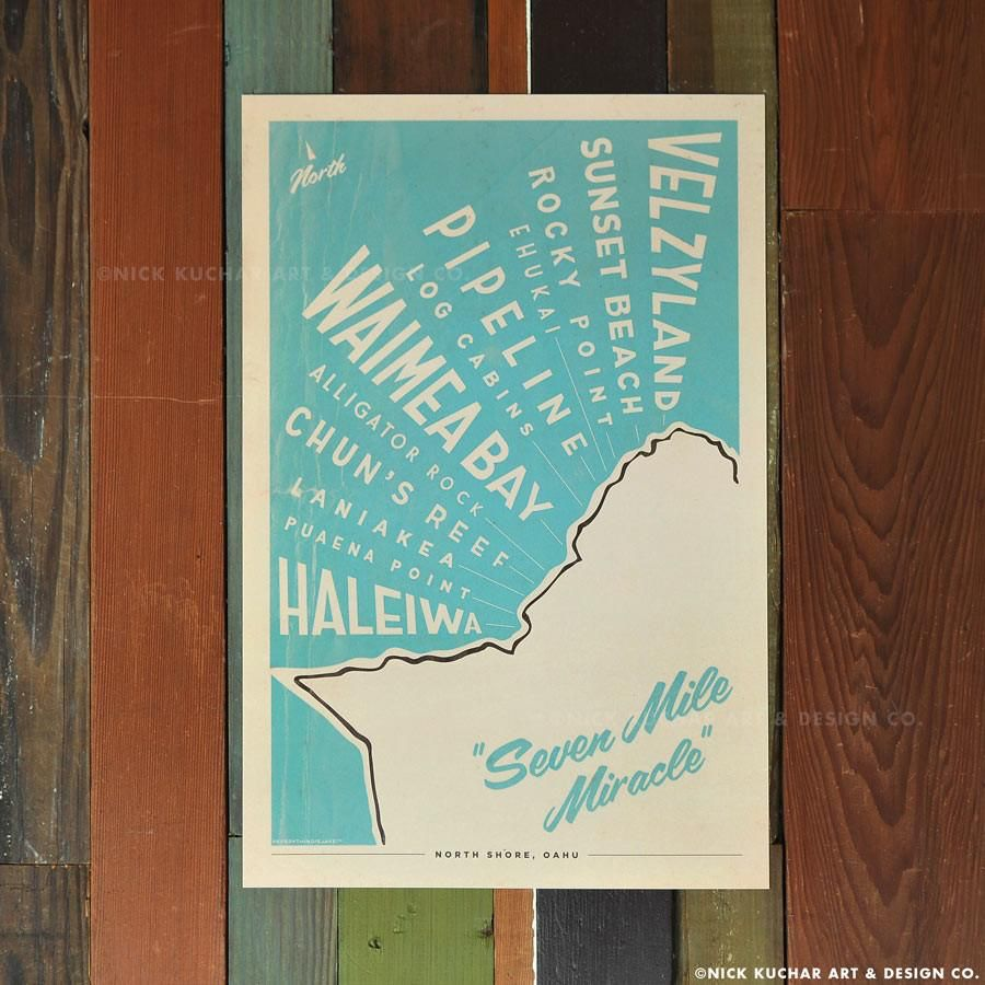 Nick Kuchar 12X18 RETRO HAWAII TRAVEL PRINT: NS MAP