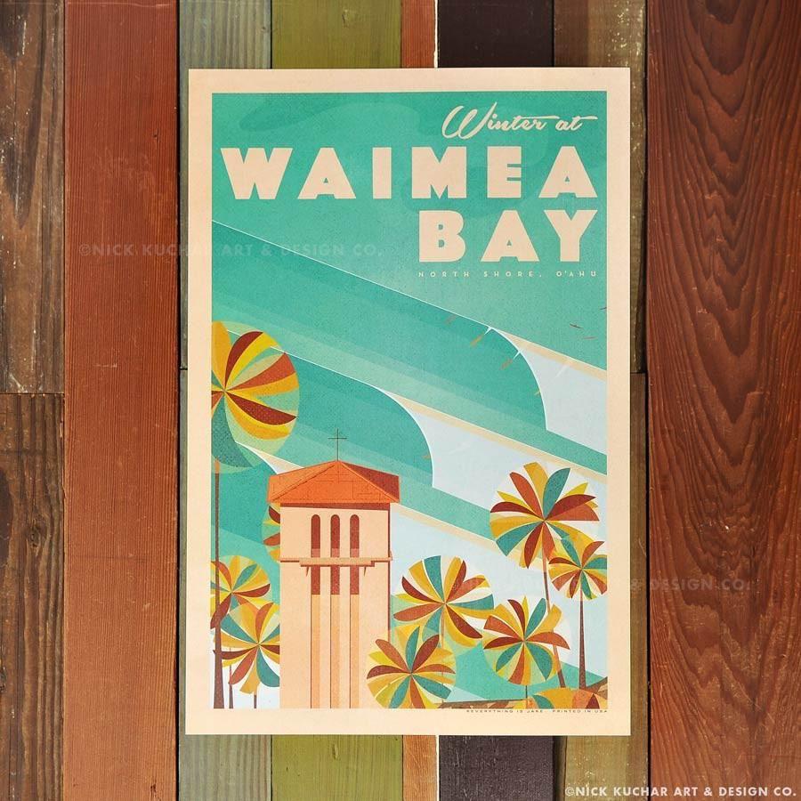 Nick Kuchar 12X18 RETRO HAWAII TRAVEL PRINT: WAIMEA BAY