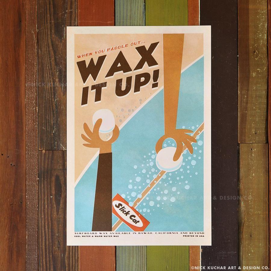 Nick Kuchar 12X18 RETRO HAWAII TRAVEL PRINT: WAX IT UP