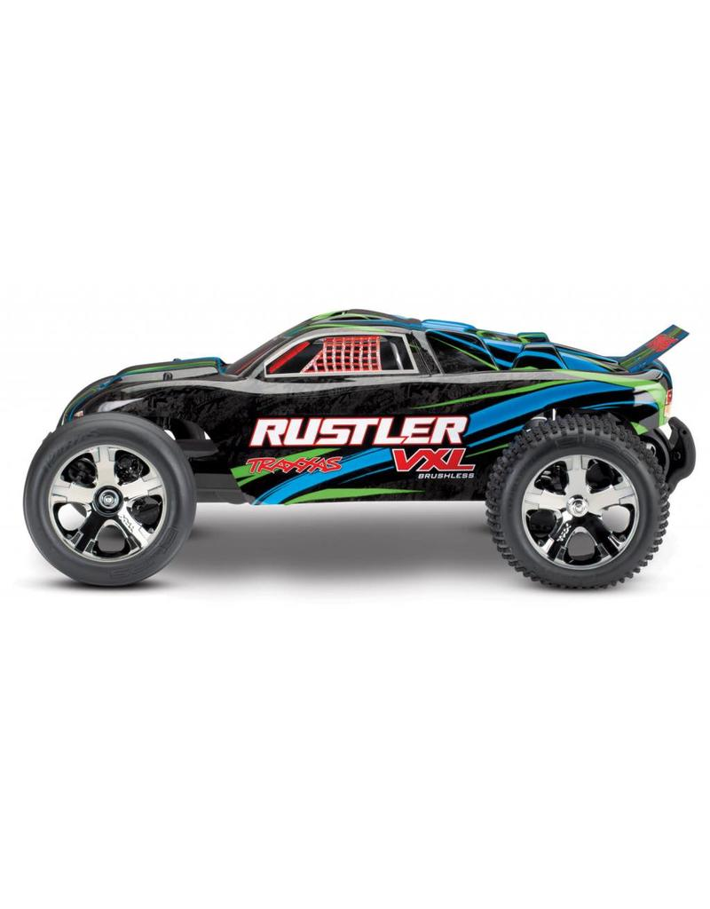 Tra37076 4 Grn Rustler Vxl 1 10 Scale Stadium Truck With Tqi Traxxas