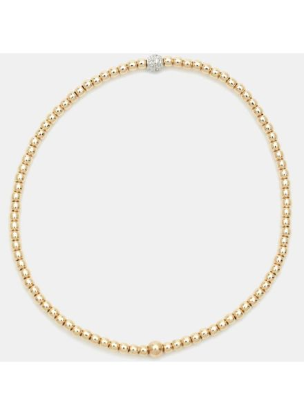 Karen Lazar 2mm Gold-Filled Bracelet with 14K Gold Diamond Bead