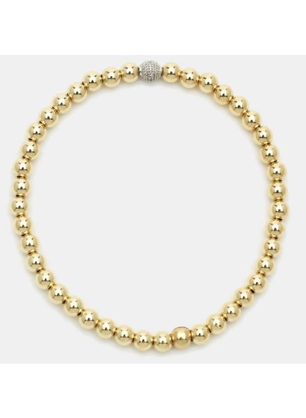 Karen Lazar 3mm Gold-Filled Bracelet with 14K Gold Diamond Bead