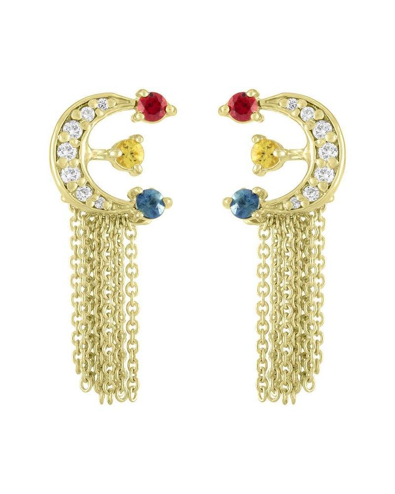 Eden Presley Moon with 3 stones Earrings