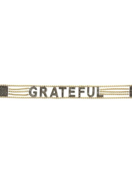 "Eden Presley ""Grateful"" Sterling Silver and Diamond Bracelet"