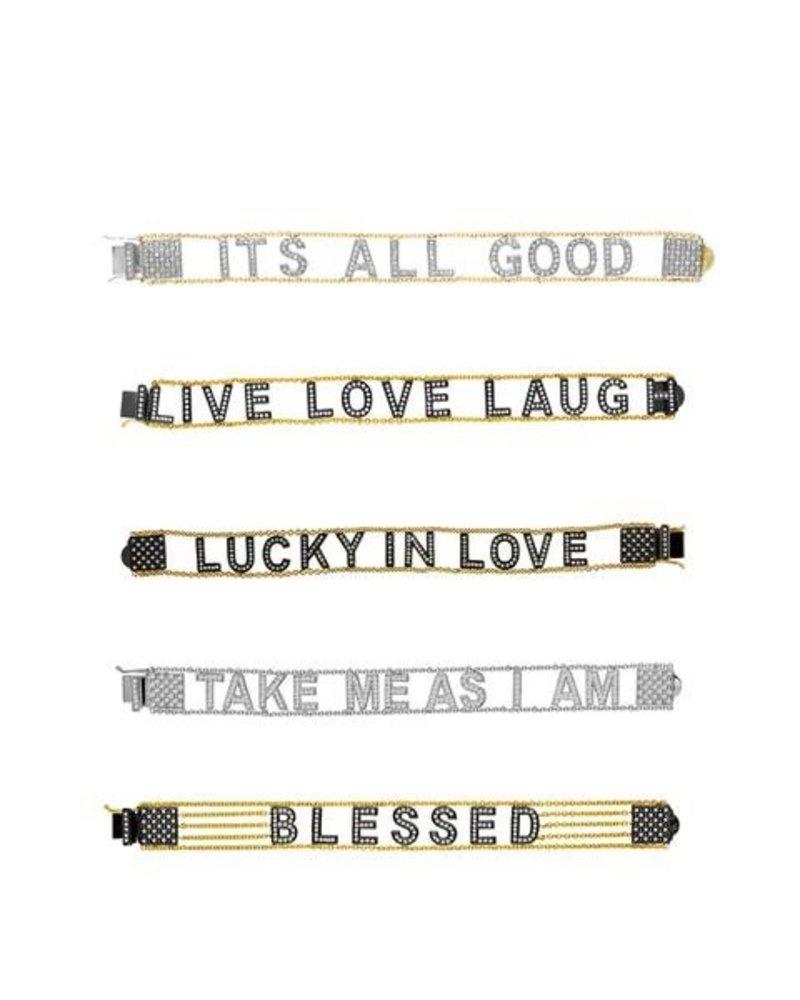 Eden Presley Large Font 14K Gold Diamond Letter Mantra Bracelet
