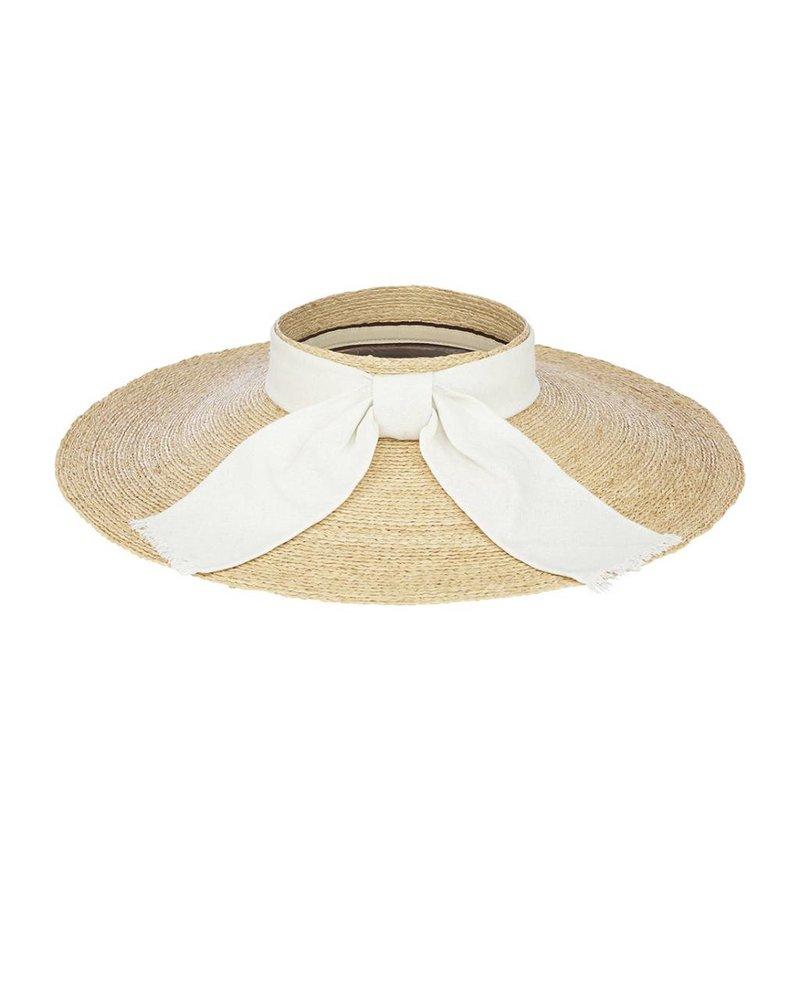 Flora Bella Jai-Nat White/Silver Raffia Braid Linen Visor