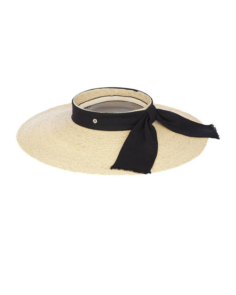 Flora Bella Jai-Nat Black Raffia Braid Linen Visor