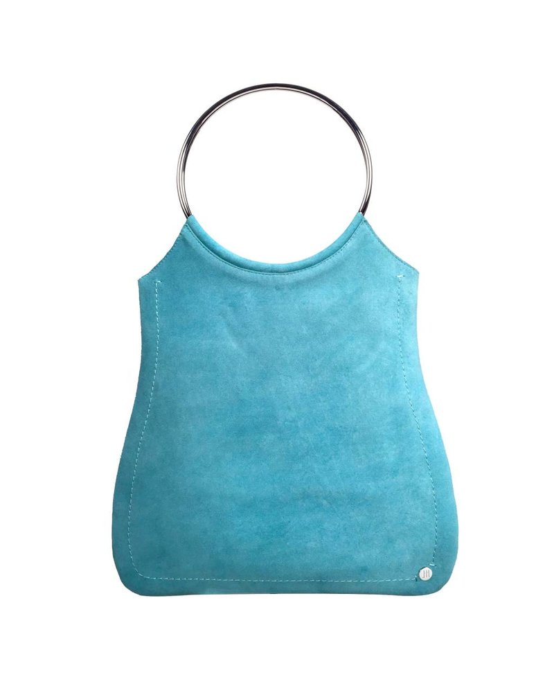 Jill Haber Stevie Ring Handle Shopper Tote - Turquoise Suede