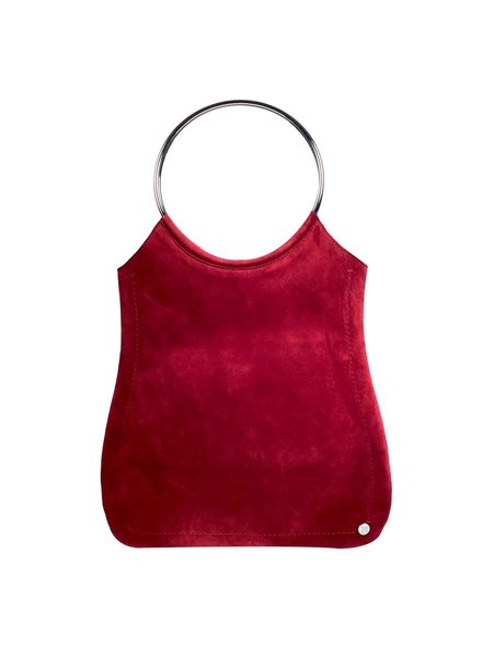 Jill Haber Stevie Ring Handle Shopper Tote - Cherry Red Trim Suede