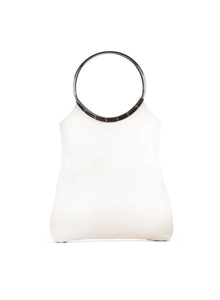 Jill Haber Stevie Ring Handle Shopper Tote - Optic White Nappa + Exotic Trim