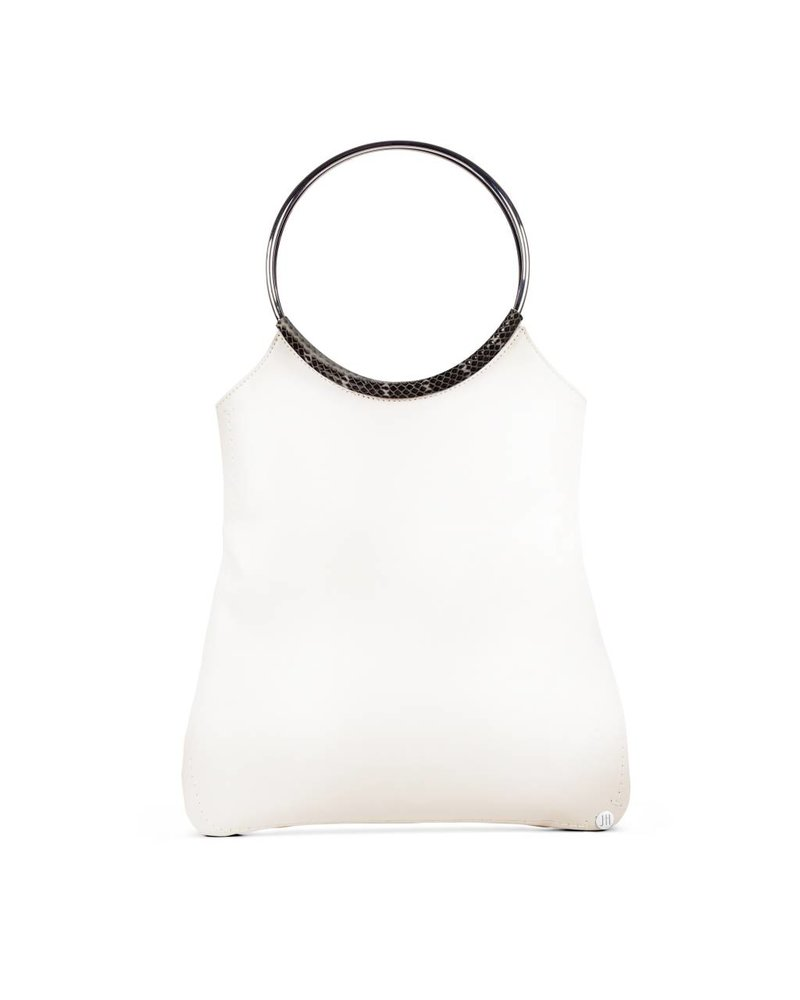 Jill Haber Stevie Ring Handle Shopper Tote - Optic White Nappa + Exotic Trim