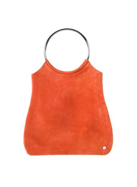 Jill Haber Stevie Ring Handle Shopper Tote - Tangerine Suede