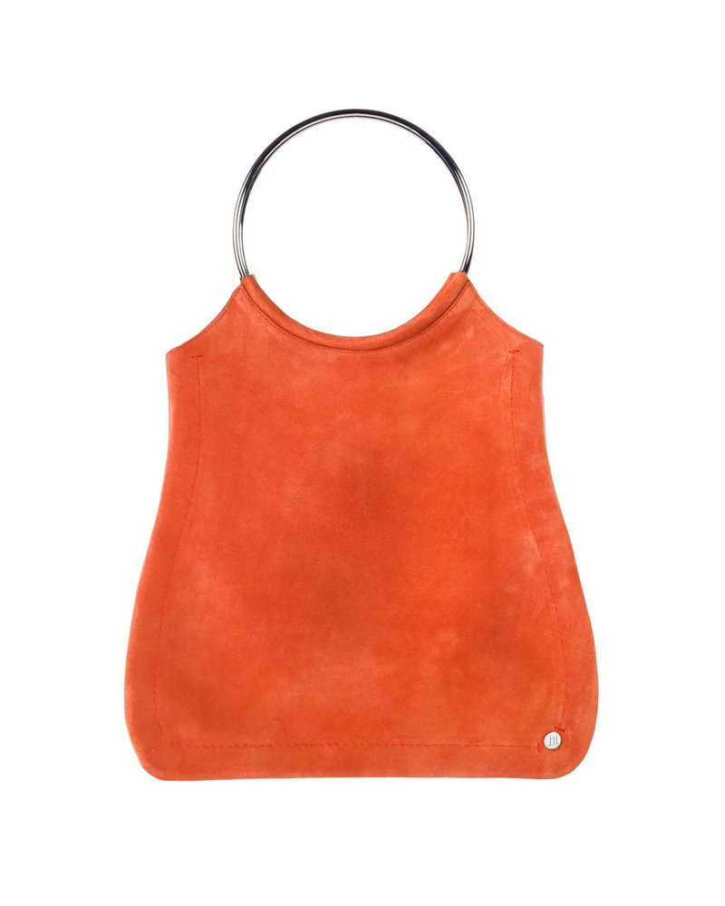 Jill Haber Stevie Ring Handle Shopper Tote - Tangerine Suede