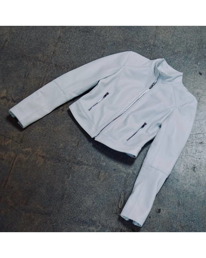 Staci Koondel Leather Jacket with Gunmetal Zipper White