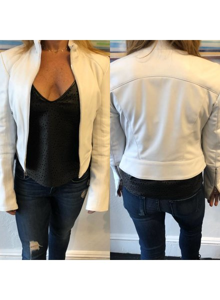Staci Koondel Leather Jacket with Gunmetal Zipper White