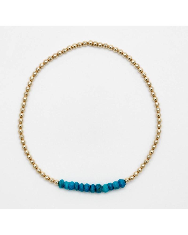 Karen Lazar 2mm beaded YG gemstone bracelet KIDS