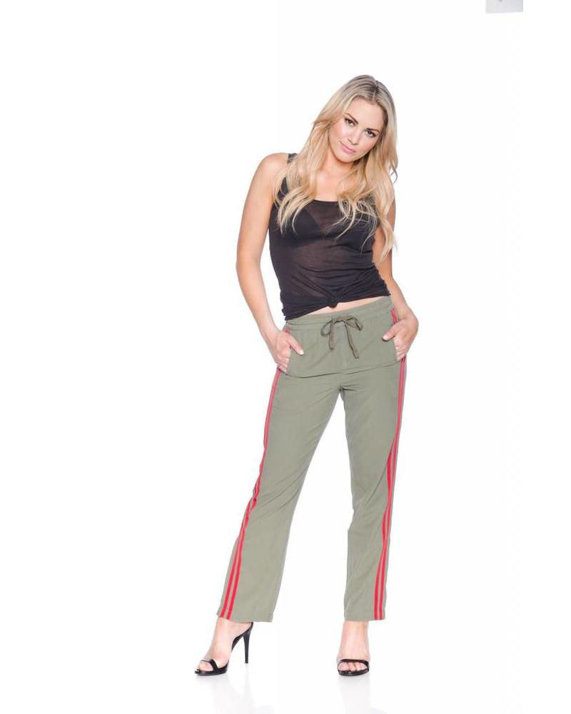 Danang Military Striped Trackpant with Side Slits F18