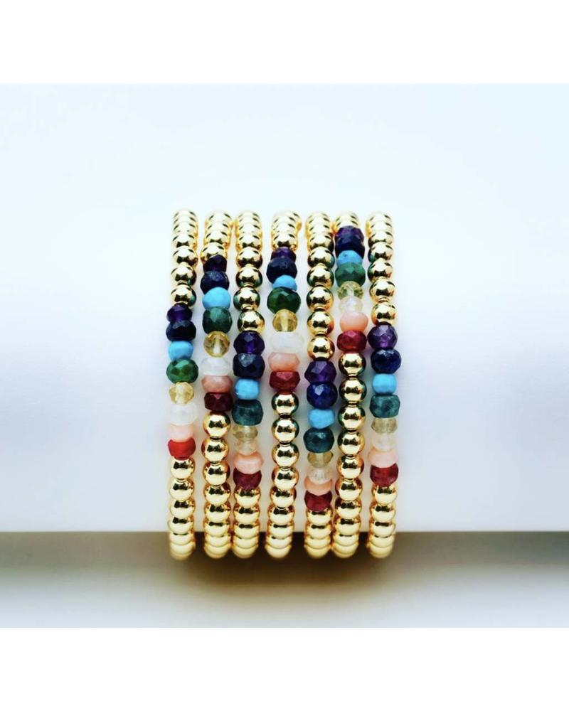Karen Lazar 3mm beaded YG gemstone bracelet KIDS