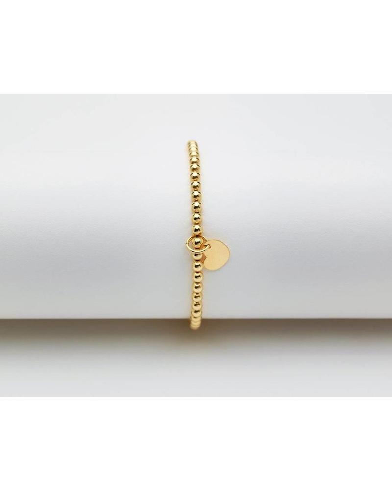 Karen Lazar 3mm beaded YG bracelet with Heart Charm KIDS