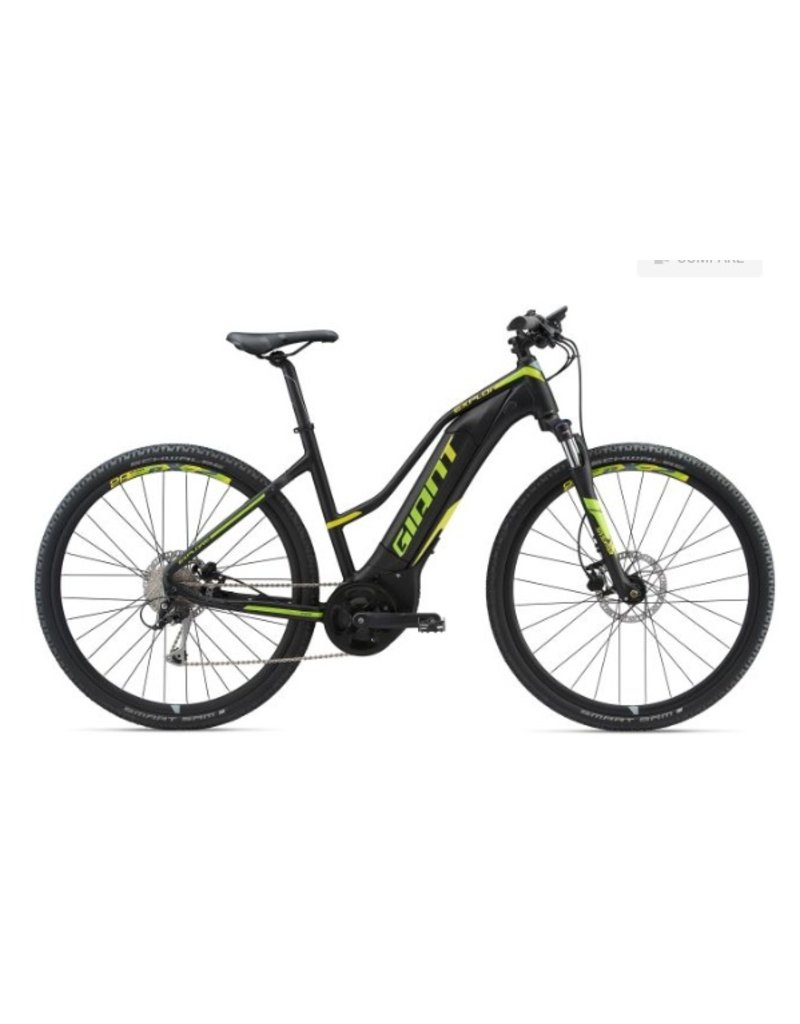 Giant 2018 Giant Explore E+ 3 Staggered Lo-Step Electric MTB Hybrid Bike Black/Lime MD