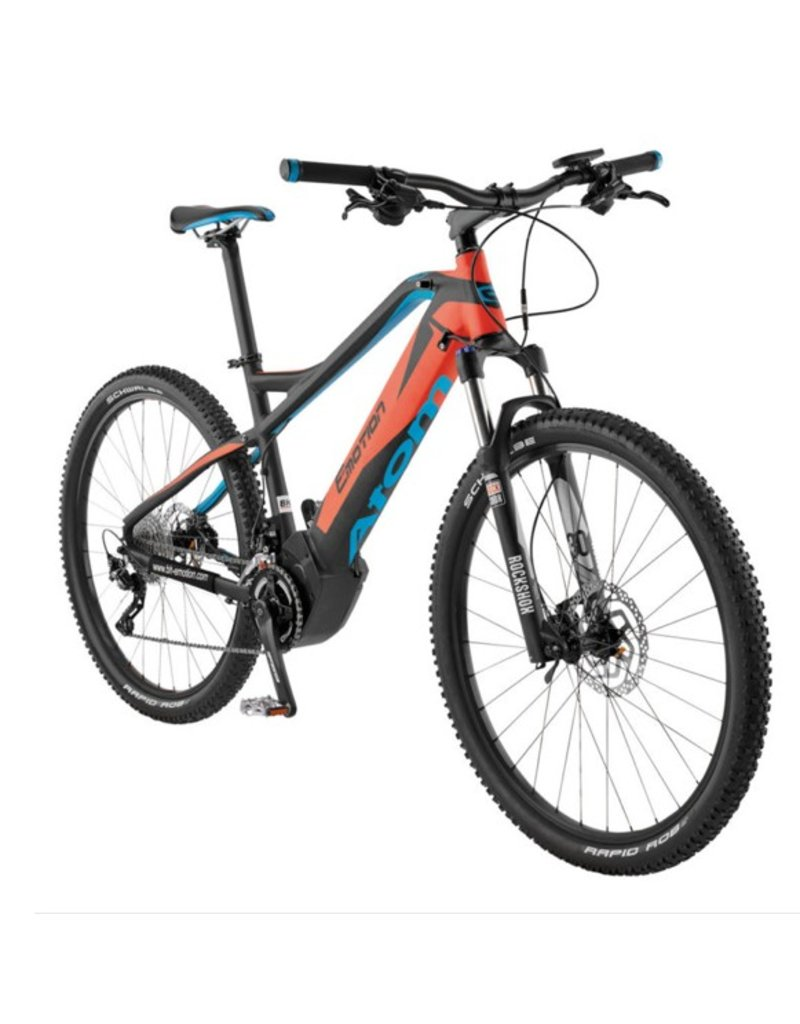 EasyMotion Easy Motion Atom 27.5 Electric HT MTB Bike Black/Orang/Blue MD