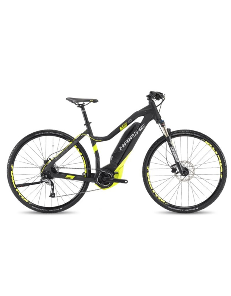 "HaiBike 2017 Haibike SDuro Cross Lo-Step 4.0 28""/700 Electric MTB Hybrid Bike Black/Yellow 56cm/LRG *ON SALE*"
