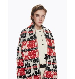Long Cardigan in Floral Jacquard