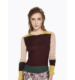 Rib Knit Colour Block Top
