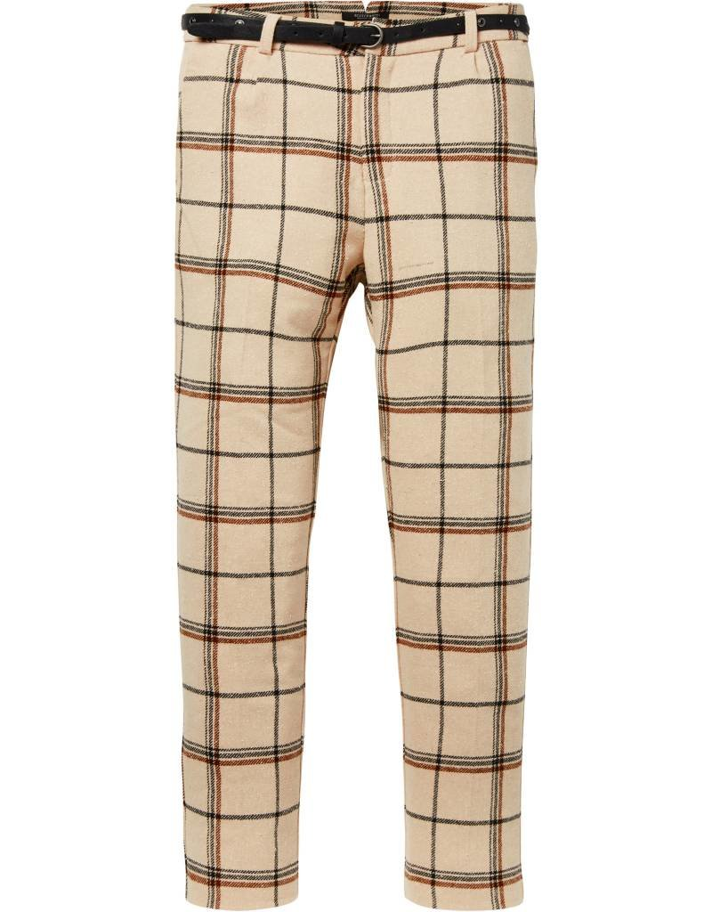 Tailored Checkered Pants with Belt