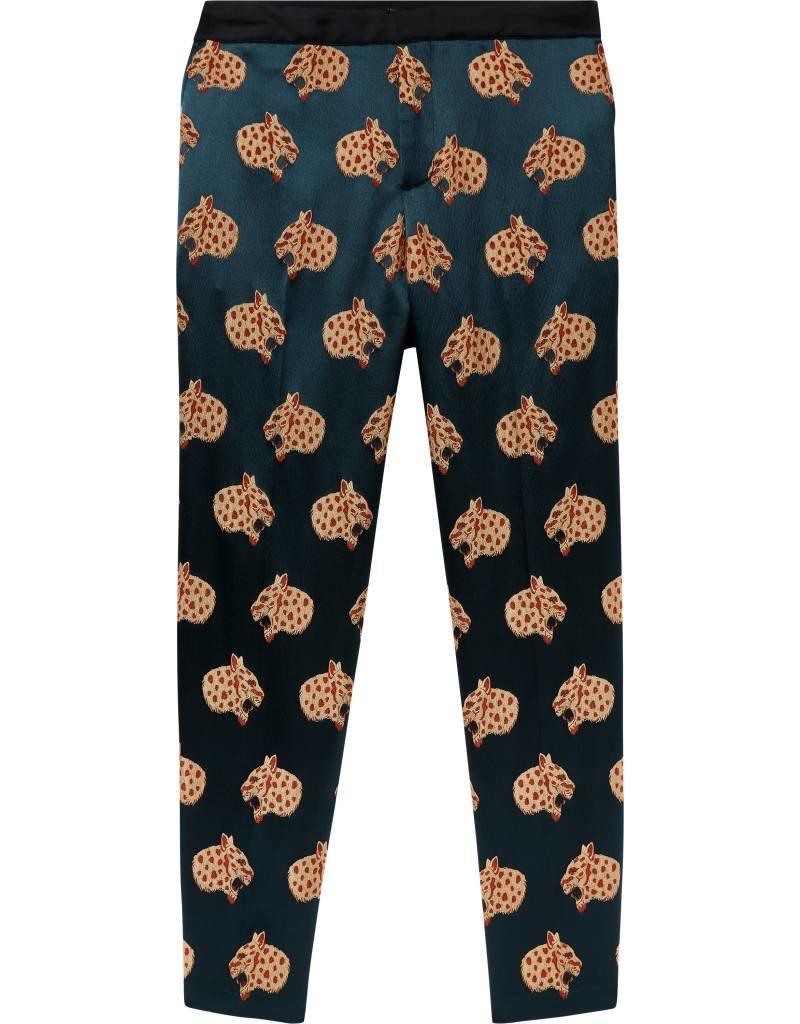 Pantalon à motif léopard des neiges en jacquard