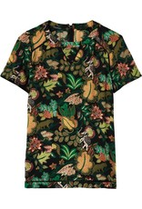 Printed Short Sleeve Top With Ladder Inserts