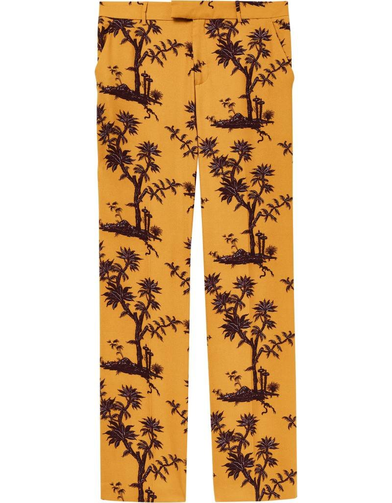 Printed Wide Leg Pants with Pressed Pleats