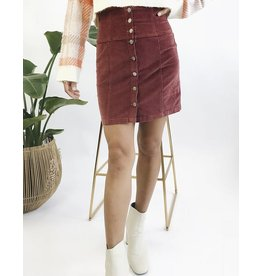High Waisted Corduroy Short Skirt with Buttons