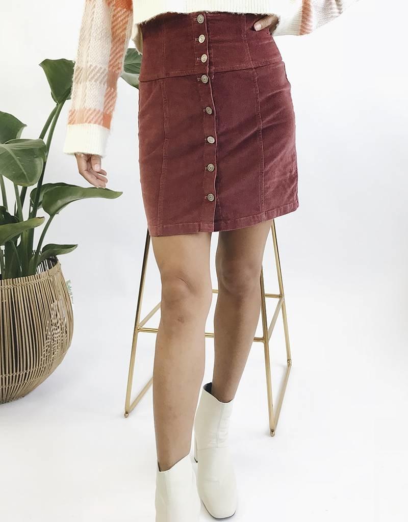 High Waisted Corduroy Shirt Skirt with Buttons