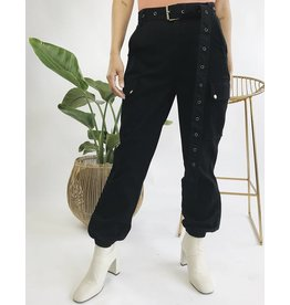 High Waisted Cargo Pants with Belt