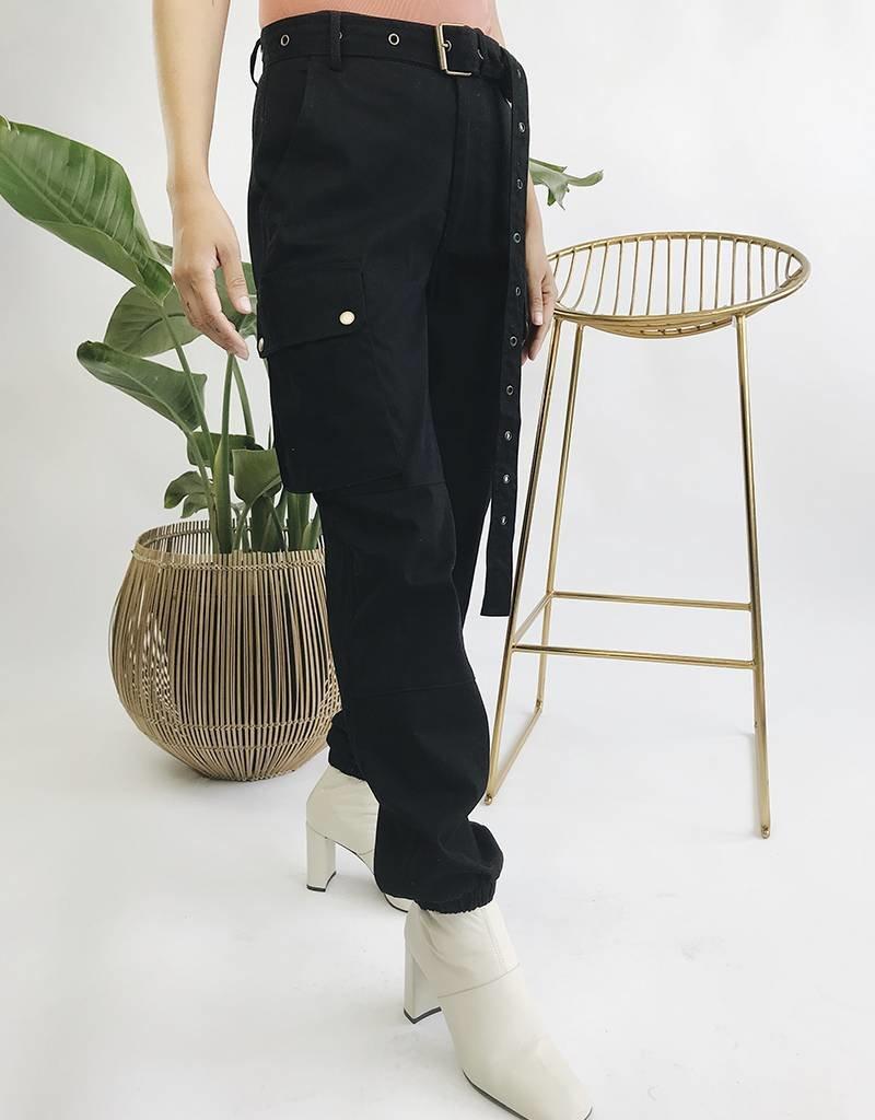 Pantalon cargo taille haute avec ceinture