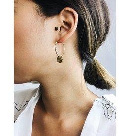 Marley - Boucles d'oreilles médaillon plaqué or