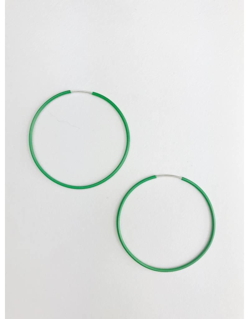 Misty - Boucles d'oreilles plaqué argent avec émail vert
