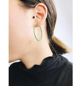 Misty - Silver Plated Earrings with Green Enamel