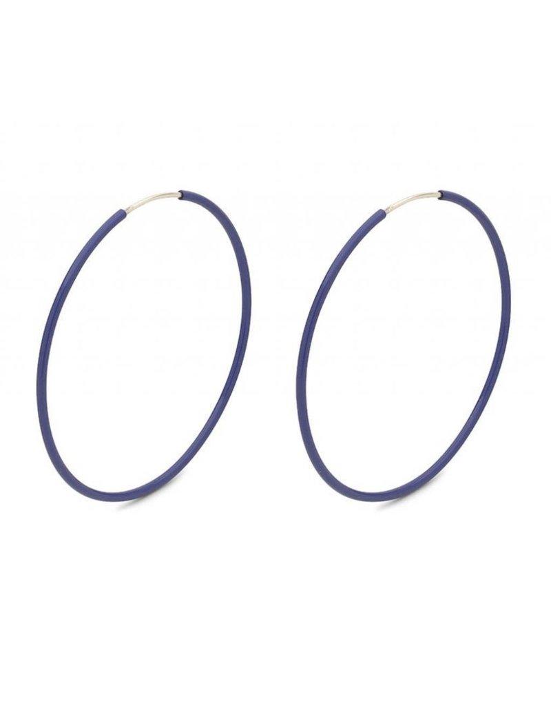 Misty - Silver Plated Earrings with Blue Enamel
