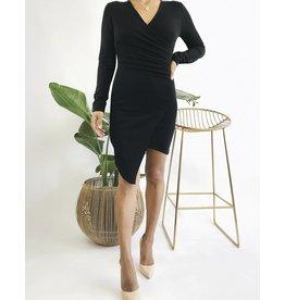 Long Sleeve Asymmetrical  Bodycon Dress