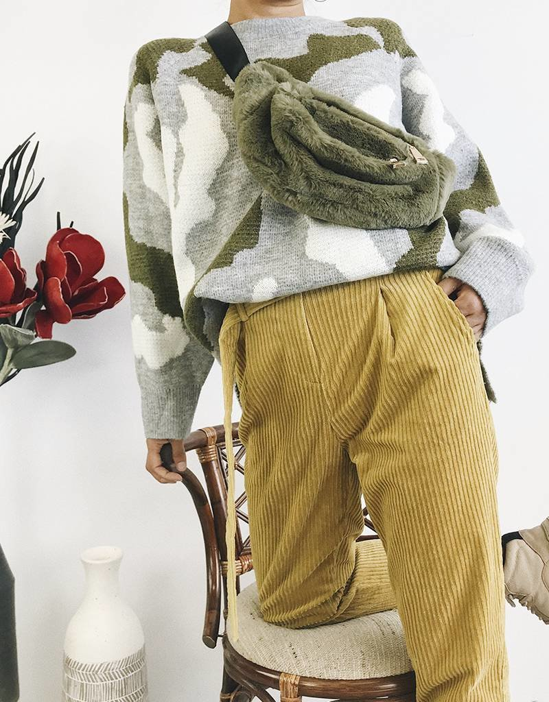 High Waisted Corduroy Pants with Belt