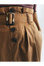 Mid-Length Skirt with Buttons & Belt