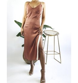 Satin Slip Dress with Ivory Stripe on the Side