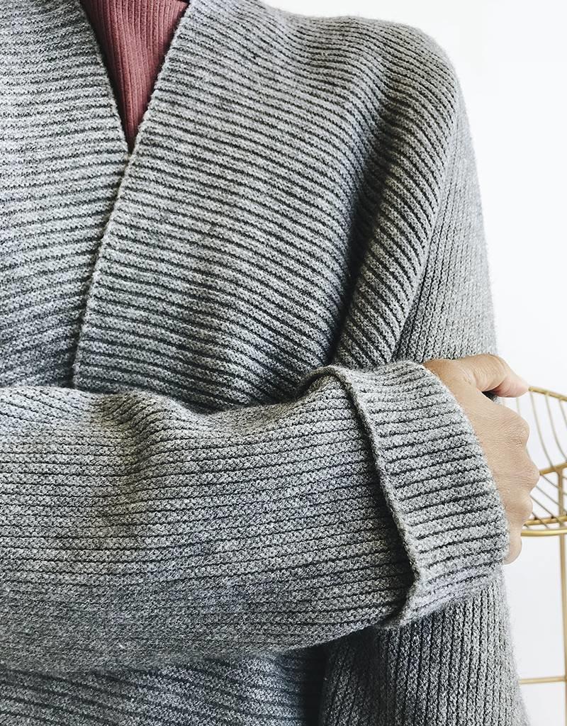Cardigan en maille côtelée surdimensionné