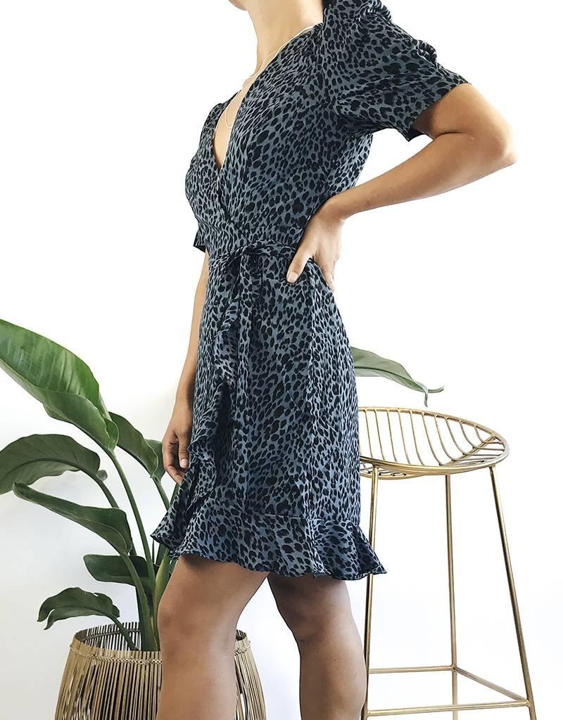 Leopard Short Sleeve Wrap Dress