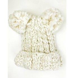 Double Pom Beanie Hat - White