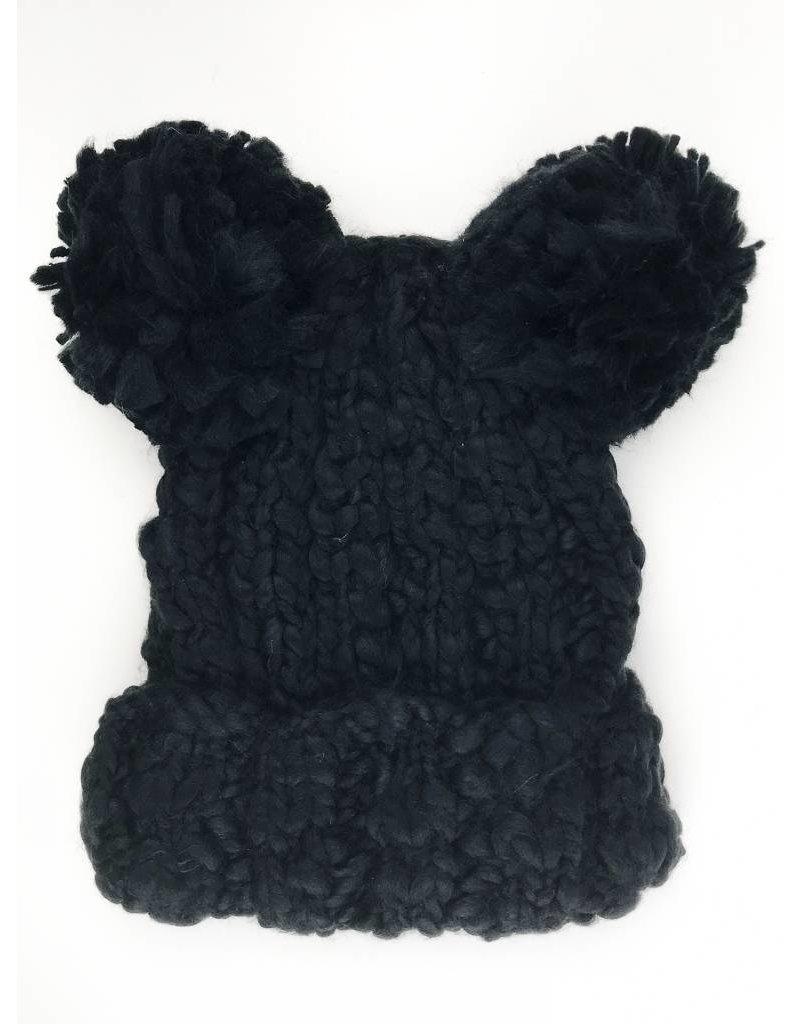 Double Pom Beanie Hat - Black