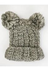 Double Pom Beanie Hat - Grey