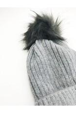 Faux Fur Pom Beanie - Grey